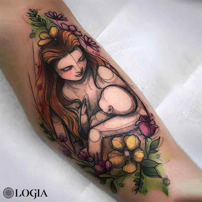 sketch tattoo madre hijo Logia Barcelona