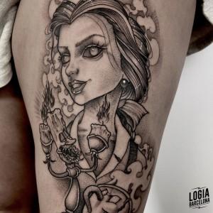 tatuaje_pierna_bella_disney_sulsu_logiabarcelona