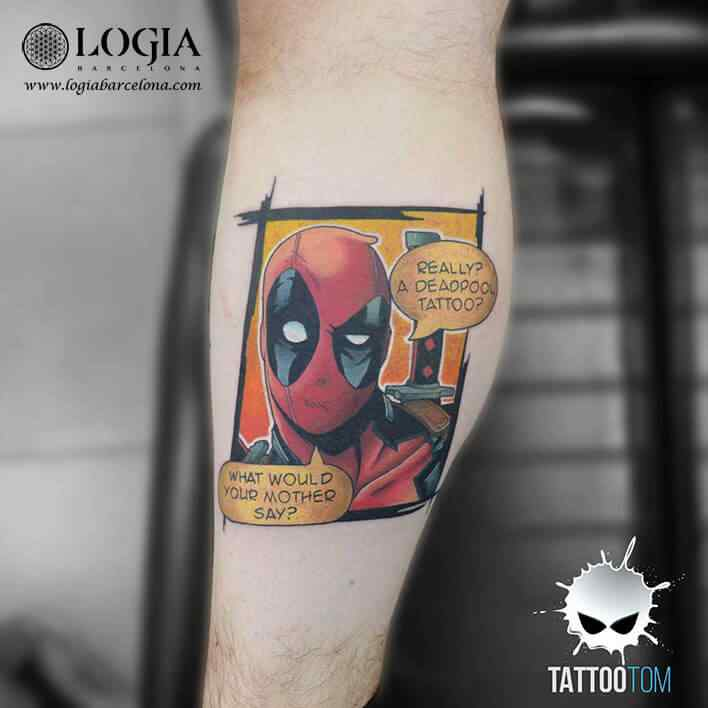 Tatuaje Deadpool superhéroe Tattootom Logia Barcelona