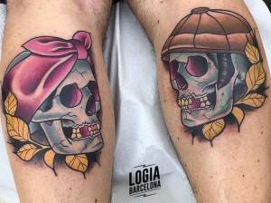 tatuaje_pareja_calaveras_gemelos_yer_tattoo_logia_barcelona