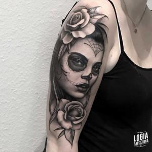 tatuaje_brazo_katrina_chicana_telaraña_logiabarcelona_javier_jas