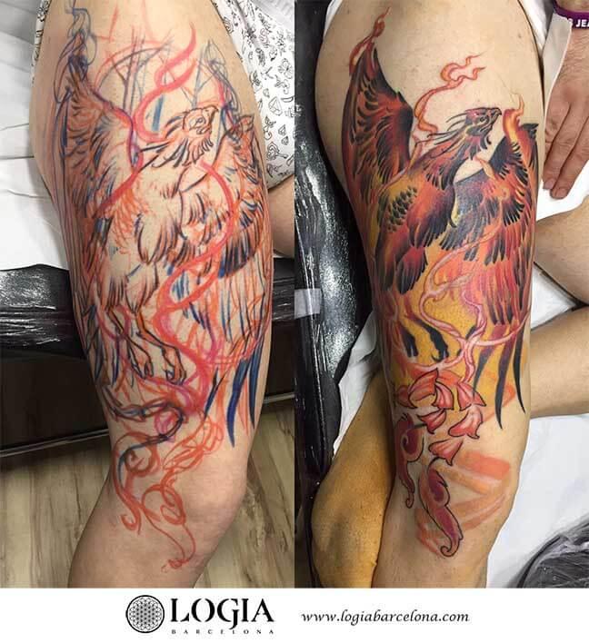 tatuaje-ave-fenix-muslo-logia-barcelona-Zoen